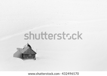 Black and white. Winter on Carpathian mountains.rural landscape. - stock photo