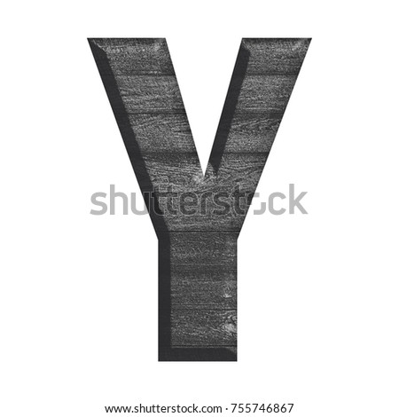 Black and white wood grain textured uppercase or capital letter Y in a 3D illustration with a wooden texture and beveled style in a bold font isolated on a white background with clipping path.