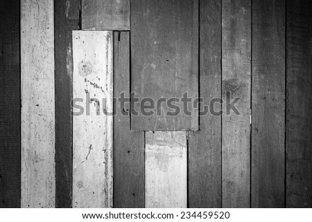 Black and white wood plank texture background