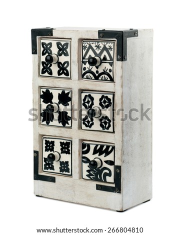 Black and white wooden chest of drawers isolated on white background - stock photo