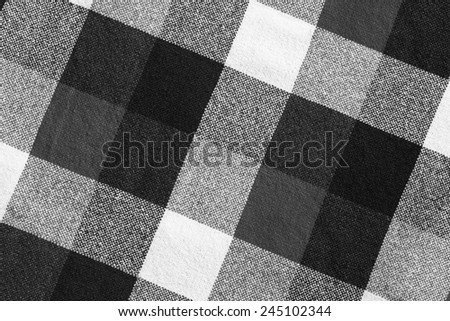Black and white wool plaid material as a background