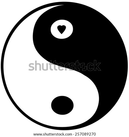 Black and white Yin Yang symbol with small heart - isolated on white background - stock photo
