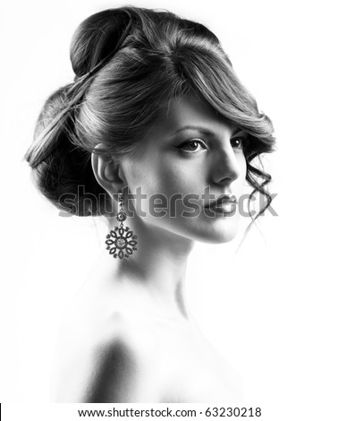 Black and wight high contrast beauty portrait of a Caucasian woman - stock photo