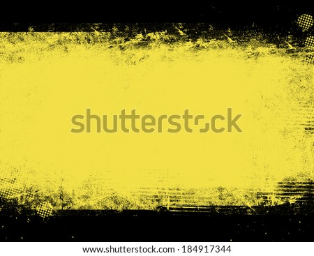 Black and yellow grunge background - stock photo