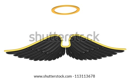Black angel wings isolated on a white background. - stock photo