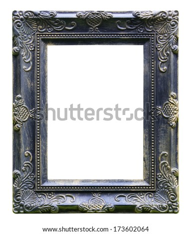 black antique vintage  picture frames. Isolated on white background - stock photo