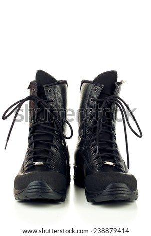Black army boots, isolated on white - stock photo