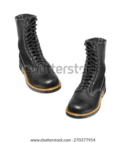 black army boots isolated on white - stock photo