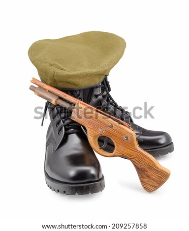 black army shoes,Beret,gun isolated on white backgrounds