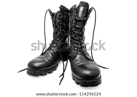 Black army shoes isolated on a white background. Frontal/Black army shoes - stock photo