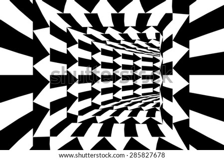 Black Arrows Square Walled Tunnel Abstract Background