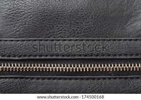black artificial leather with zipper for background