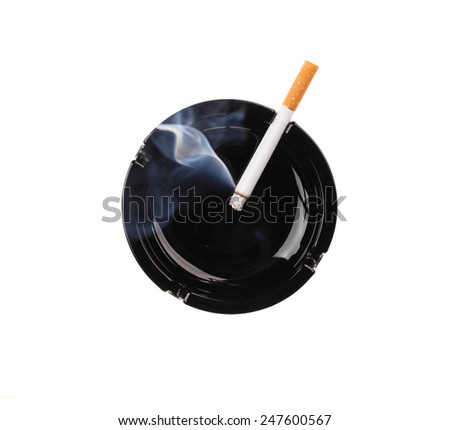 Black ashtray and smoking cigarette. Isolated on a white background.