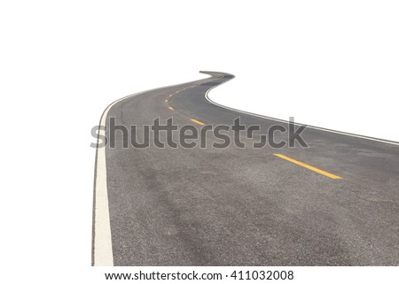 Black asphalt road with white and yellow line isolated on white background