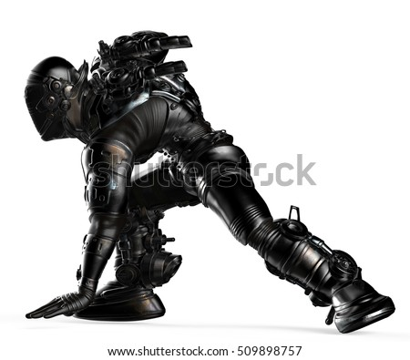 black astronaut ready for attack 3d illustration