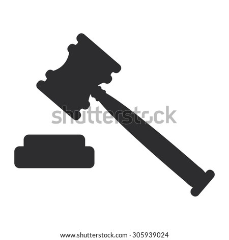 Black Auction Hammer Infographics Flat Icon, Sign Isolated on White Background - stock photo
