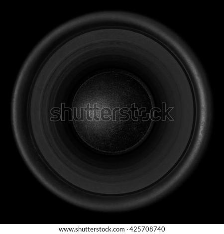 Black audio speaker isolated on black background - stock photo