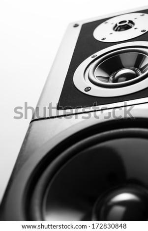 Black audio speaker, stereo equipment. - stock photo