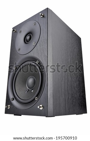Black audio speaker, stereo equipment in wide angel and isolated on white with clipping path - stock photo