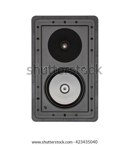 Black audio speaker system, loudspeaker isolated on white background - stock photo