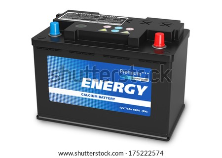 Black automobile battery isolated on white background - stock photo