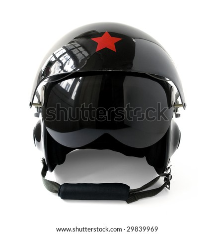 black aviator helmet isolated on a white background