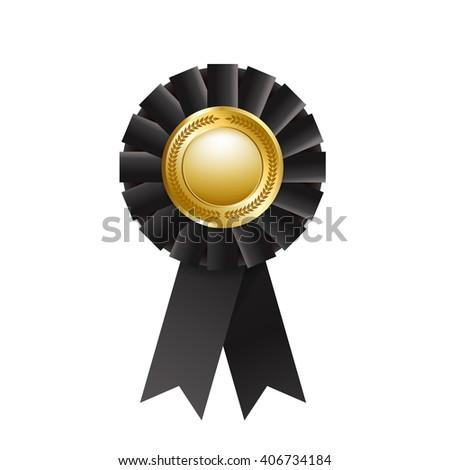 Black award rosette isolated on a white background. Award ribbon - stock photo