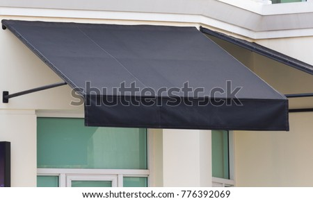 Black Awning Steel Structure Over Window Stock Photo