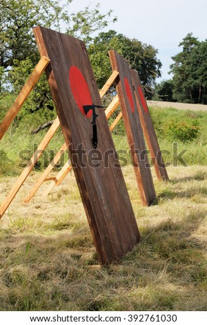 Black Axe hits the red target area on the axe wall - stock photo