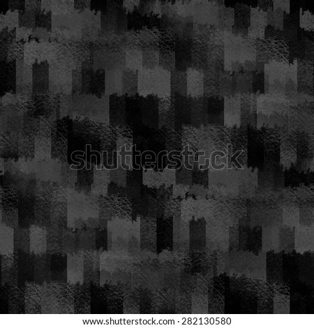 black background, grain texture, abstract cubes, seamless pattern - stock photo