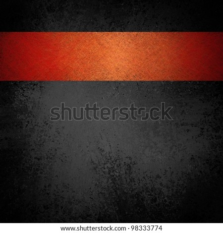 black background illustration with gray vintage grunge texture and bright colorful orange red ribbon layout design on top border of frame with copyspace for title or text - stock photo