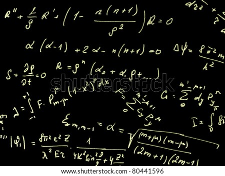black background with different mathematical expressions