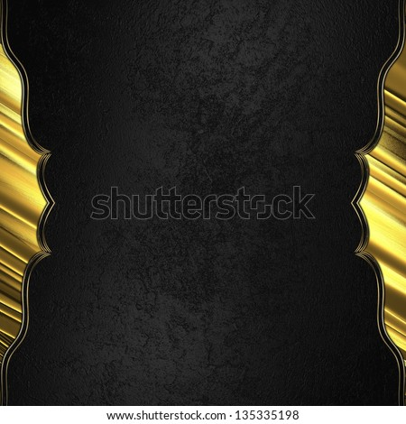 Black background with gold edged with gold trim. Design template - stock photo