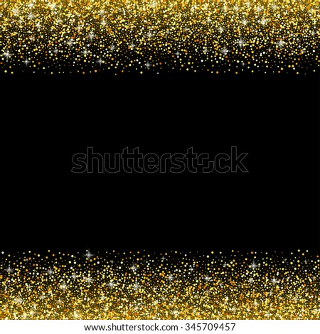 black background with gold glitter sparkle, greeting card template
