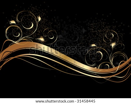 Black background with gold wave and floral ornament