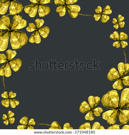 Black background with golden clover and free space for your text - stock photo
