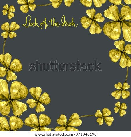 Black background with golden clover and sign  - stock photo