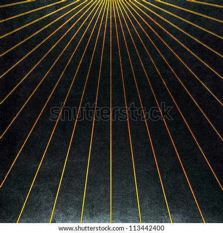 black background with golden strips - stock photo