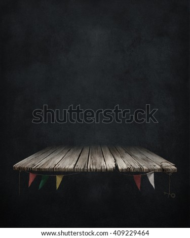 Black background with old vintage table with flags.  - stock photo