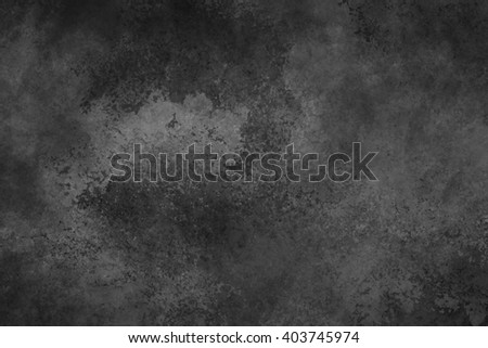 black background with vintage faded white watercolor wash texture, large black background - stock photo