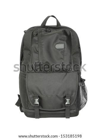 Black backpack isolated on white background - stock photo