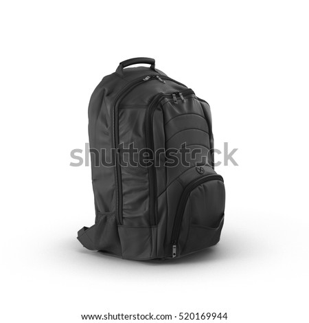 Black backpack or back pack or school bag or rucksack isolated on white. 3D illustration