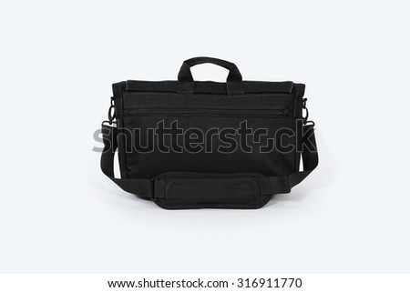 Black bag and zip. Black backpack isolated. Blank bag isolated. Zipper backpack isolated. Travel bag isolated. Outdoor backpack isolated. Backpack detail. Haversack isolated. Empty backpack isolated. - stock photo