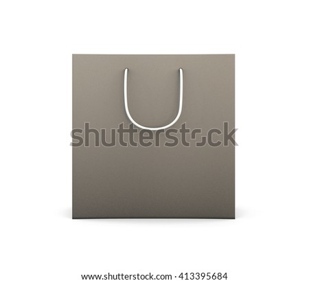 Black bag with handles for purchase. Black bag isolated on white background. Black bag for your design. Template bag front view. 3d rendering.