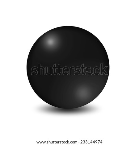 Black ball on white background  - stock photo