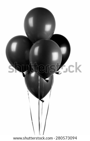 Black balloons isolated on white - stock photo