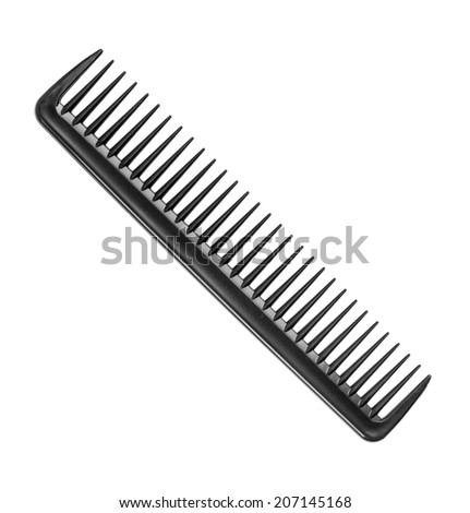 black barber comb with a few teeth on an isolated white background - stock photo