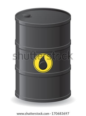 black barrel for oil illustration isolated on white background