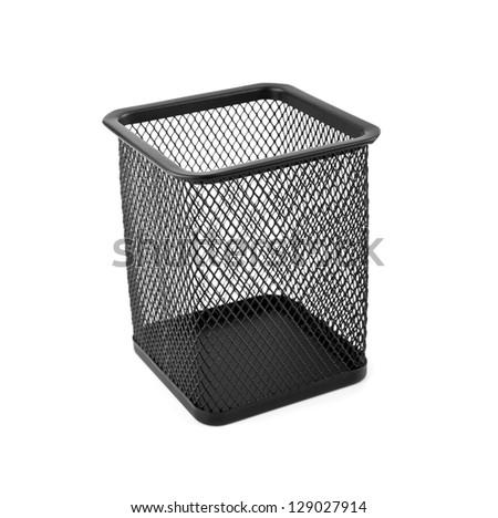 black basket on a white background - stock photo