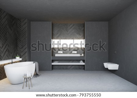 Black bathroom interior with a white double sink with a long horizontal mirror and a round tub. Two toilets. 3d rendering mock up